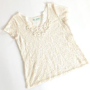 Maurices Cream Lace Top Cap Sleeves Flowers